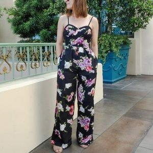Band Of Gypsies Floral Bustier Jumpsuit Romper